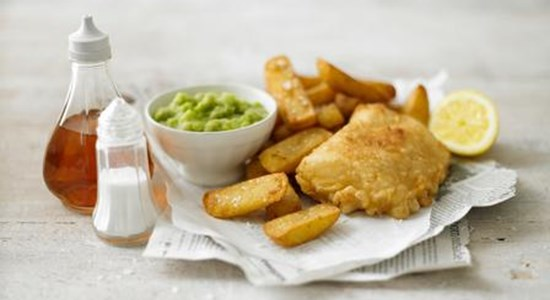 English Ale Battered Fish, Chips and Mushy Peas