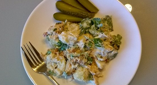 Hot Potato salad with Flaked Smoked Mackerel - Fishbox