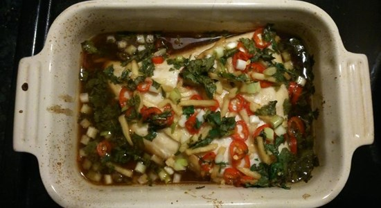 Oven Baked Hake with Soy Ginger, Chilli, Spring Onion & Coriander - Fishbox