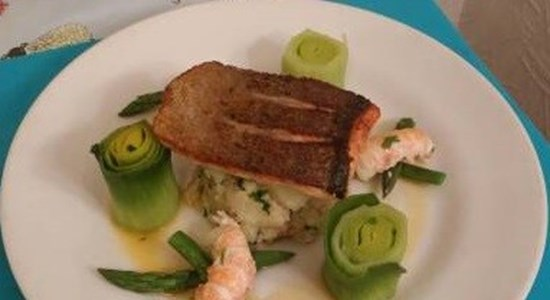 Pan-seared Sea Trout with Champ Crushed Potatoes, Langoustine Tail & Steamed Greens - Fishbox