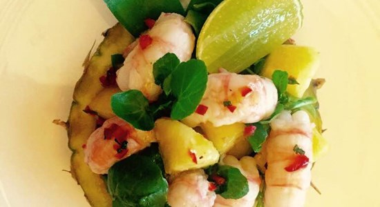 Langoustine with fresh golden pineapple, ginger and chilli - Fishbox