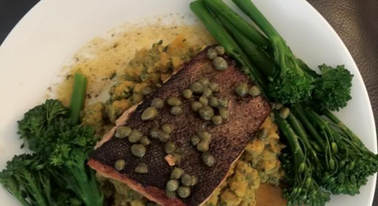 Rainbow Trout with Mixed Veg Mash and Lemon, Butter and Caper Sauce