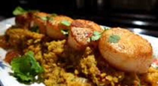 Spiced Scallops with Coconut Tarka Dhal