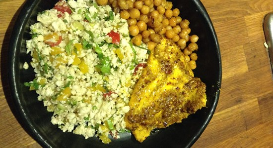 Spiced Cod with Cauliflower Tabbouleh and Roasted Chickpeas