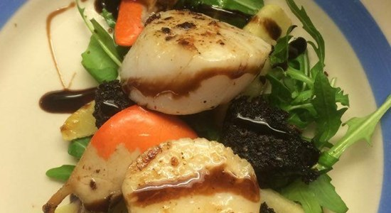 Scallops with Isle of Mull Black Pudding Roasted Apple Salad - Fishbox