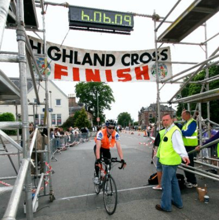 Magnus Houston finishing the Highland Cross
