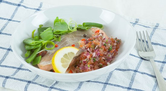 Poached Salmon and Green bean salad with tomato dressing- Fishbox