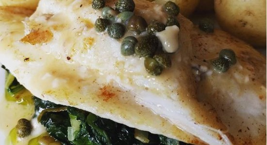 Featured Fishboxer Winner - Megrim Sole with sauteed leek & spinach, new tatties & oyster mayonnaise