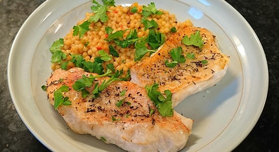 Roasted Redfish with Giant Couscous