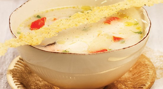 Seafood Soup with Parmesan Tuiles