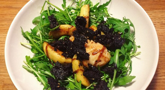 Scallops with Caramelised  Apples and Black Pudding with a Balsamic Glaze