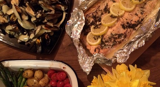 Sea Trout Baked with Thyme and Rarebit Mussels