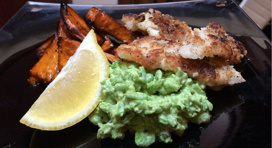 Coconut-Fried Plaice with Sweet Potato Chips & Mushy Peas