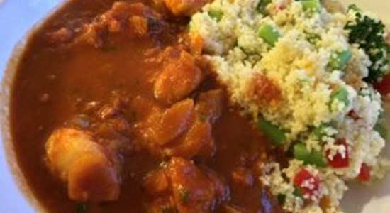 Fish Tagine with Apricot and Green Vegetable Couscous