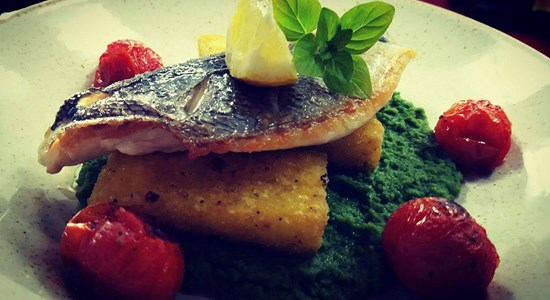 Sea Bream with Polenta Chips & Basil and Pea Puree