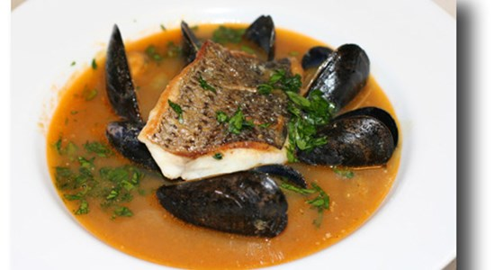 Seabass with a Mussel & chorizo broth