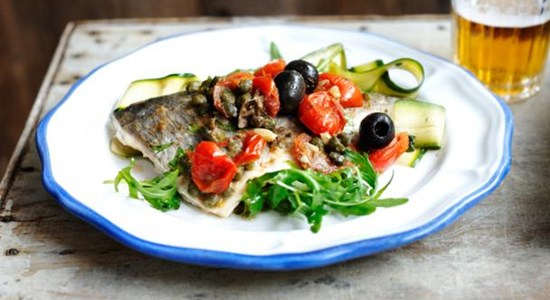Sea Bream with Caper, Anchovy and Olive Dressing and Courgette Salad