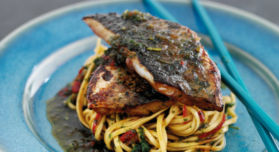 Teriyaki style Sea bream with noodles
