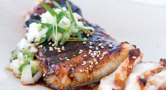Sweet glazed Hake with Soy, Chilli, Ginger, Spring onion
