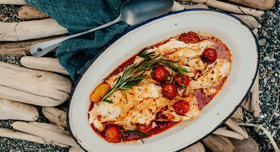 Halibut with spicy Italian sausage