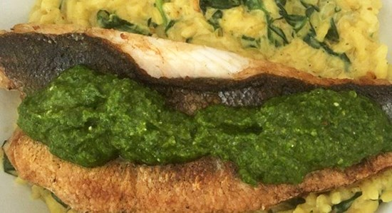 Lemon Risotto with Spinach and Sea Bass