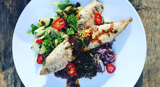 Pan-Fried Mackerel with Jasmine Rice, Asian-Inspired Sauce and Summer Salad
