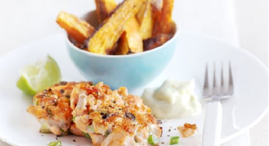 Salmon and Ginger Fish Cakes and Sweet Potato Chips