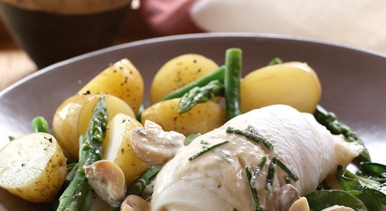 Poached Plaice with a Mushroom and Yoghurt Sauce